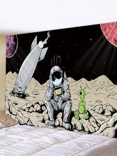 Outer Space Astronaut Rocket Print Decorative Wall Tapestry - Multi W59 X L51 Inch