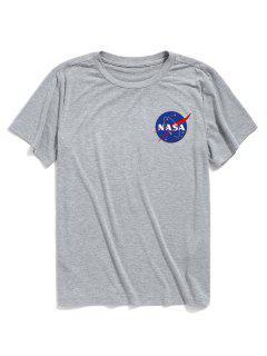 ZAFUL Letter Printed Short Sleeves T-shirt - Light Gray M