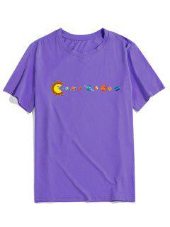 T-Shirt Di ZAFUL Stampata Pianeta Con Maniche Corte - Viola Xl