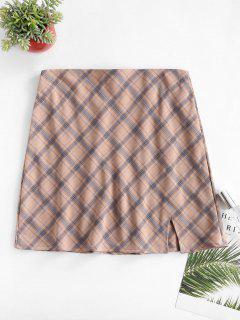 Plaid Slit A Line Skirt - Light Pink S