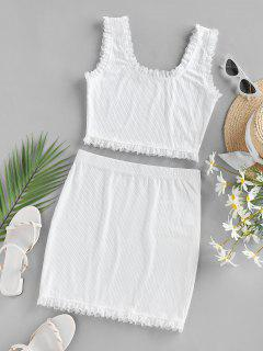 ZAFUL Lace Trim Ribbed Two Piece Mini Dress - White L