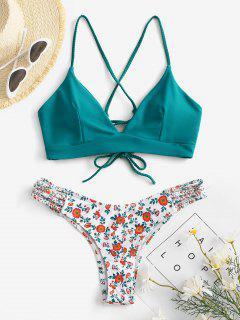 ZAFUL Lace-Up Braided Flower Bikini Set - Deep Green M