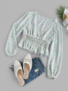 ZAFUL Ditsy Print Smocked Plunging Peplum Blouse - Light Blue S