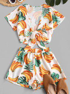 Bananas Print Tie Front Two Piece Set - White S