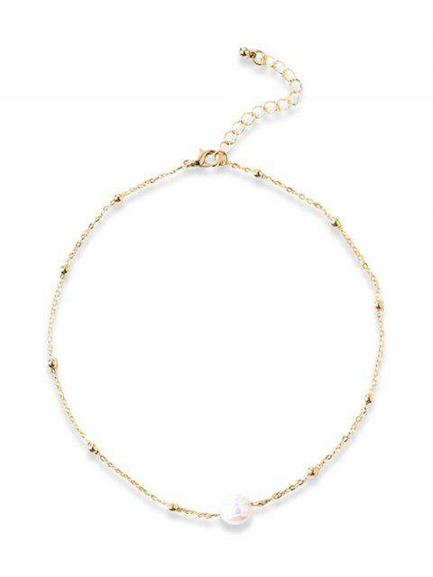 hot Faux Pearl Collarbone Necklace - GOLDEN  Mobile