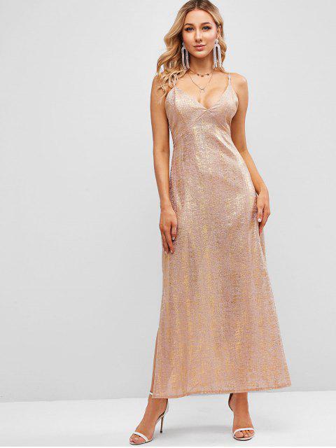 ZAFUL Vestido Maxi Cami com Corte Alto Gilding - Rosa S Mobile