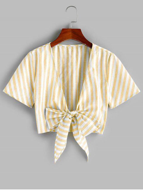 buy ZAFUL Tie Knot Stripe Cropped Blouse - CORN YELLOW XL Mobile