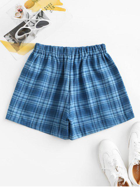 Plaid-Taschen-Pull-on Shorts - Blau S Mobile