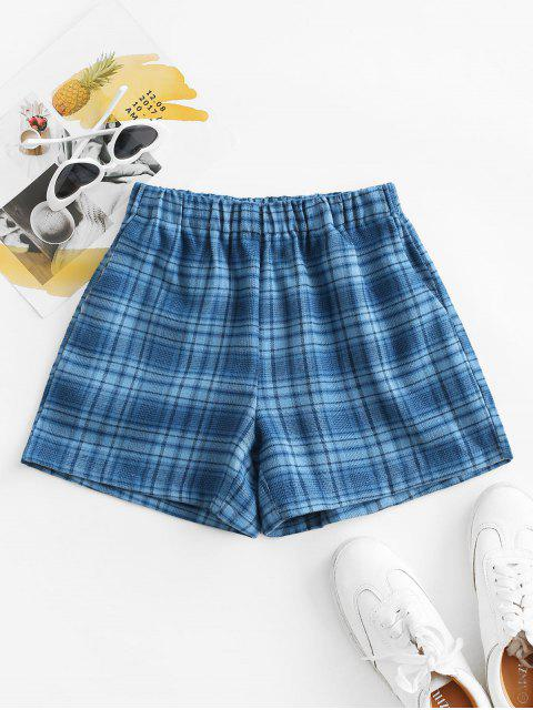 fashion Plaid Pocket Pull-on Shorts - BLUE M Mobile