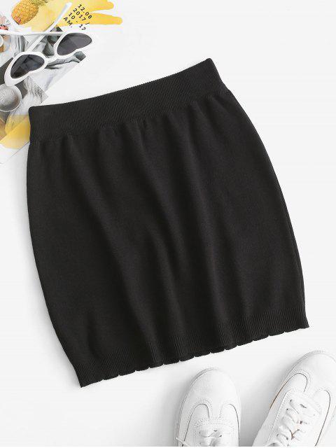 chic Flower Knitted Mini Bodycon Skirt - BLACK M Mobile