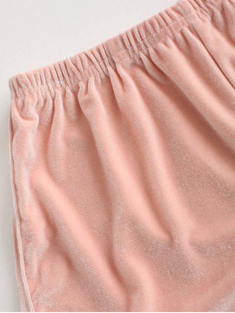 affordable Velvet Plain Pull On Shorts - LIGHT PINK ONE SIZE Mobile