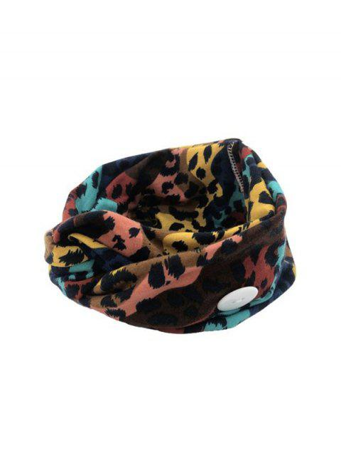 shops Leopard Print Knotted Headband with Button - MULTI-A  Mobile