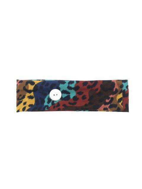 buy Leopard Cotton Button Sports Sweat Headband - MULTI-A COLORFUL LEOPARD Mobile