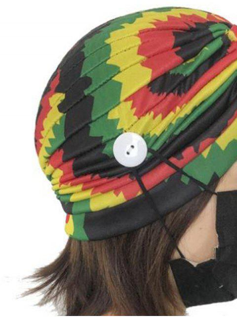 ladies Colored Printed Mask Hanging Button Indian Hat - MULTI-E  Mobile
