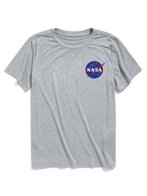 ZAFUL T-shirt Lettre Imprimée à Manches Courtes - Gris Clair S Mobile