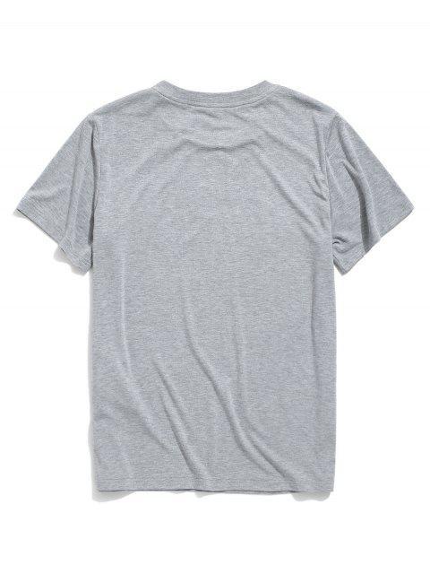 trendy ZAFUL Letter Printed Short Sleeves T-shirt - LIGHT GRAY M Mobile