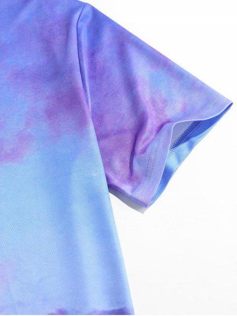 T-Shirt di ZAFUL a Maniche Corte con Stampa Nuvole Colorate - Blu 2XL Mobile