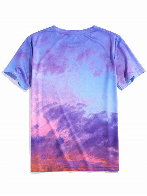 ZAFUL Colorful Clouds Print Short Sleeve T-shirt - أزرق 2XL Mobile