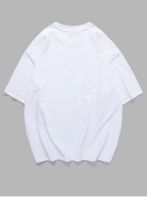 fancy Animal Pattern Oriental Letter T-shirt - WHITE 2XL Mobile