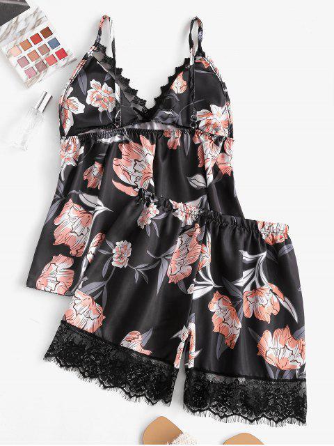 women's Lace Insert Flower Print Padded Bowknot Pajama Shorts Set - BLACK S Mobile