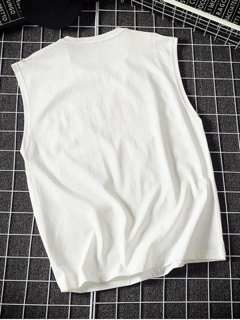 fashion Round Neck Letter Print Slogan Tank Top - WHITE 2XL Mobile
