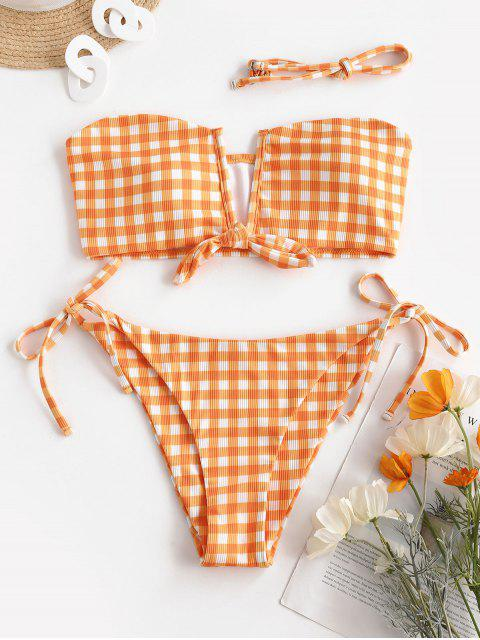 hot ZAFUL Visual Fun In Wired Bikini - DARK ORANGE M Mobile