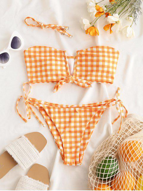 outfit ZAFUL Visual Fun In Wired Bikini - DARK ORANGE L Mobile