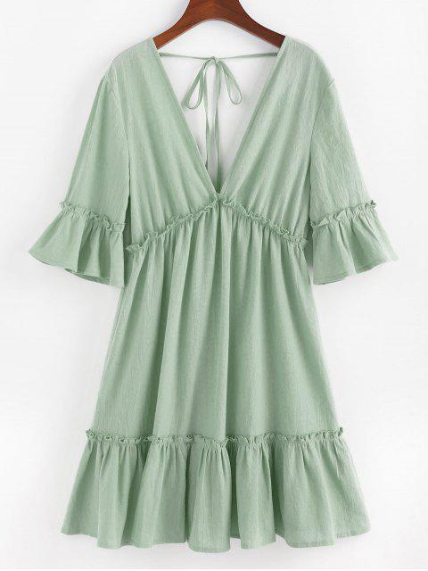 online ZAFUL Bell Sleeve Ruffle Plunging Dress - LIGHT GREEN M Mobile