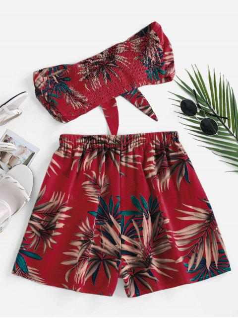 womens ZAFUL Palm Print Strapless Tie Front Two Piece Set - RED S Mobile