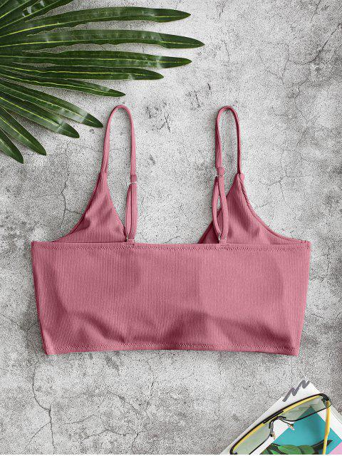 outfit ZAFUL Ribbed Twisted Plunge Front Bikini Top - PALE VIOLET RED XL Mobile