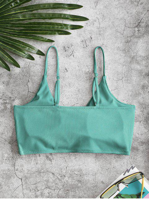 ZAFUL Haut de Bikini Plongeant Côtelé Tordu en Avant - Bleu Vert Ara  L Mobile