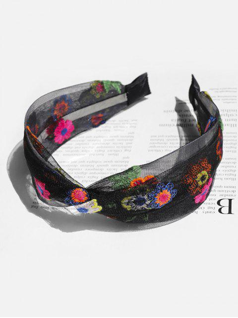 fancy Floral Embroidery Mesh Knotted Headband - BLACK  Mobile