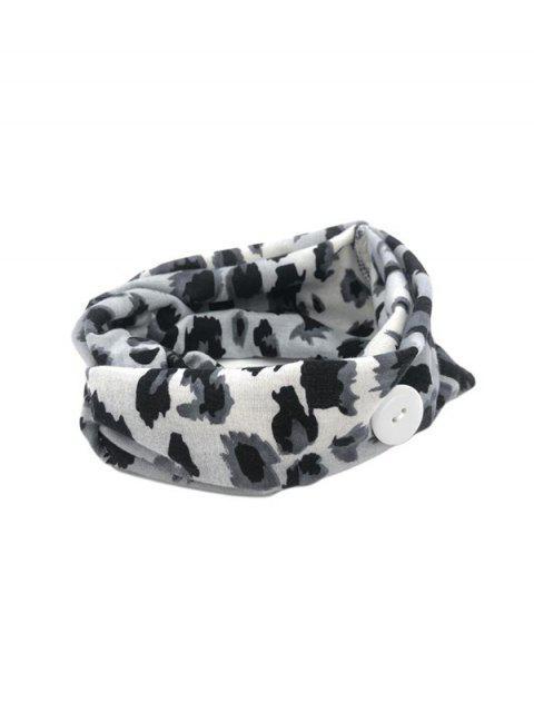 Verknotetes Leopardenmuster Kopfband mit Knopf - Grau  Mobile