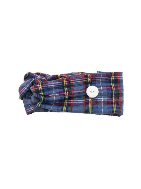 new Cross Yoga Button Plaid Headband - BLUE  Mobile