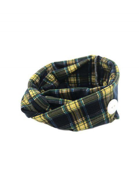 hot Cross Yoga Button Plaid Headband - YELLOW  Mobile