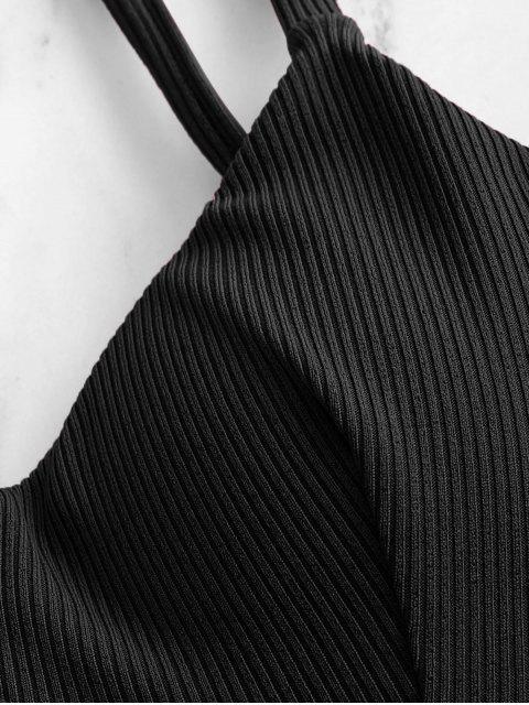 unique ZAFUL Ribbed Underwire Tie Bikini Swimwear - BLACK M Mobile