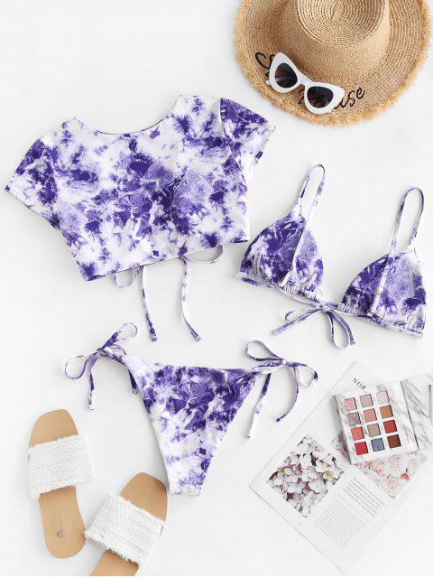 fashion ZAFUL Tie Dye Cinched Three Piece Swimsuit - PURPLE S Mobile