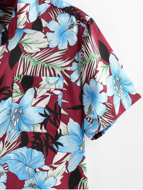 fashion ZAFUL Flower Plant Print Pocket Button Vacation Shirt - RED WINE 2XL Mobile