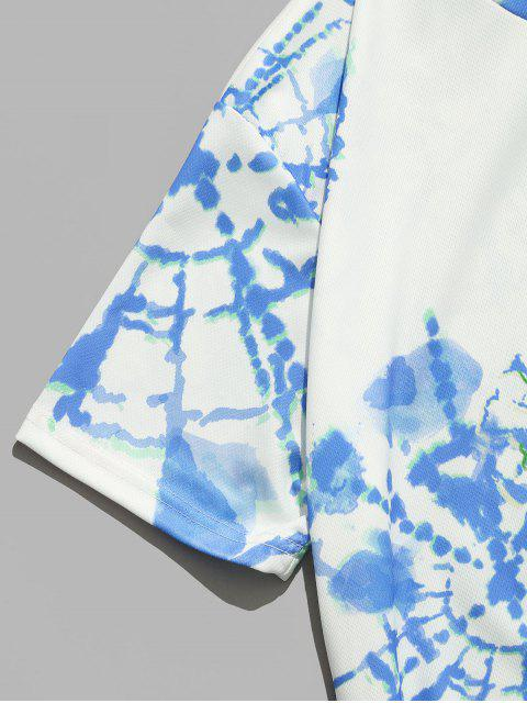 Pintura Impressa Mangas Curtas Padrão Impresso T-shirt - Azul do Mar 2XL Mobile