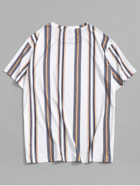 womens Round Neck Vertical Stripe Printed T-shirt - WHITE M Mobile