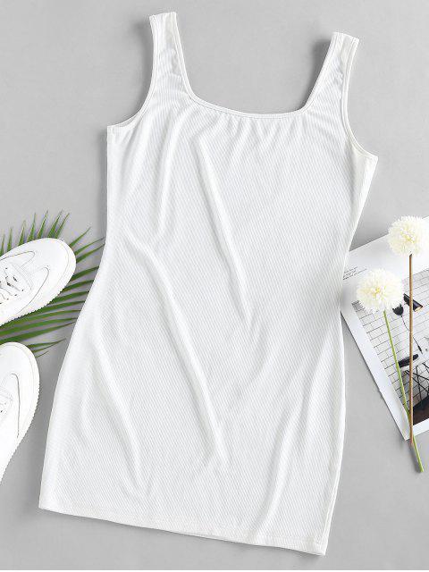 chic ZAFUL U Neck Mini Bodycon Dress - WHITE M Mobile