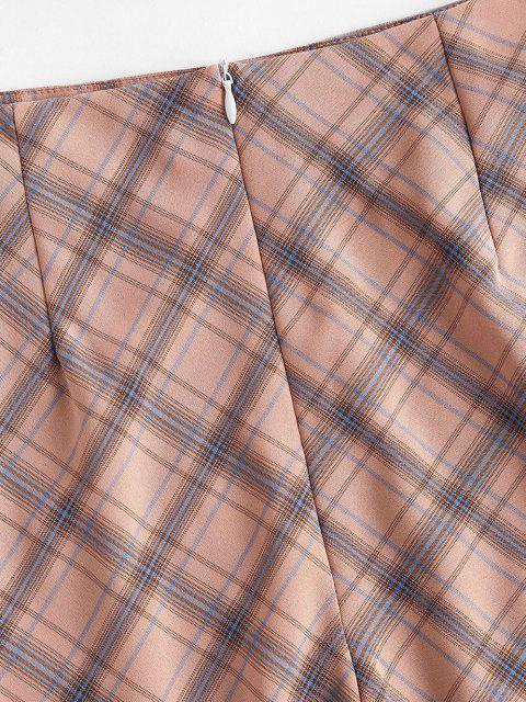 lady Plaid Slit A Line Skirt - LIGHT PINK L Mobile