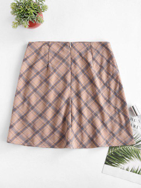 women's Plaid Slit A Line Skirt - LIGHT PINK S Mobile