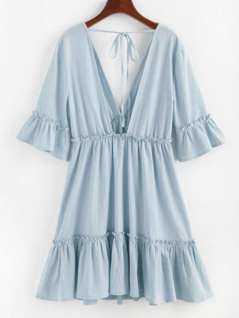 hot ZAFUL Bell Sleeve Ruffle Plunging Dress - LIGHT BLUE M Mobile