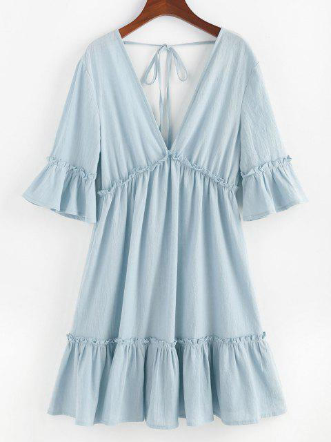 affordable ZAFUL Bell Sleeve Ruffle Plunging Dress - LIGHT BLUE S Mobile