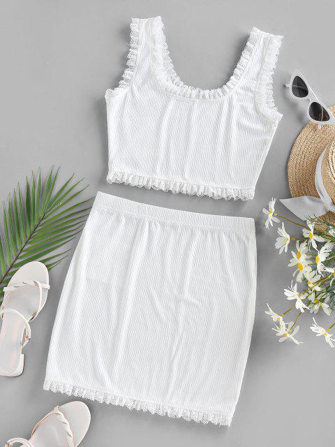 ZAFUL Vestido de Duas Peças Mini Guarnição com Nervuras e Vestido - Branco S Mobile