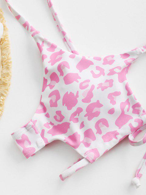 lady ZAFUL Animal Leopard Print Cutout Tie Bikini Top - LIGHT PINK M Mobile