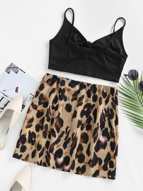 affordable ZAFUL Tie Front Leopard Print Two Piece Dress - BLACK M Mobile