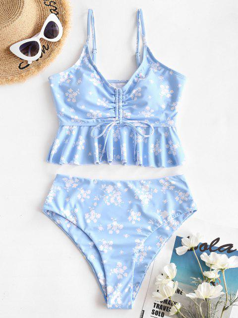 chic ZAFUL Ditsy Print Cinched Peplum High Waisted Tankini Swimwear - LIGHT BLUE S Mobile