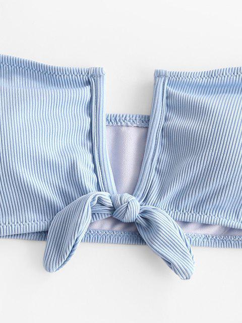 ZAFUL Maillot de Bain Bikini Bandeau Noué Côtelé à Armature en V - Bleu Ciel Léger  M Mobile